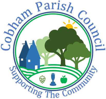 Cobham Parish Council logo, showing fields with three trees to represent the three areas we cover.  Also contains oast houses, apple, cobnut, wheat, hop and the ashes trophy to symbolise our parish